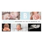 Invitación multi inicial grande del nacimiento de tarjetas con fotos personalizadas