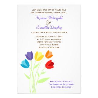 Invitación multicolora del boda del arco iris del