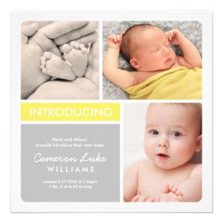 Invitación múltiple del nacimiento de la foto el
