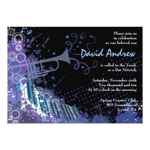 Invitación musical de Mitzvah del palo de la barra