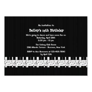 Invitación musical inclinada de la fiesta de invitación 12,7 x 17,8 cm