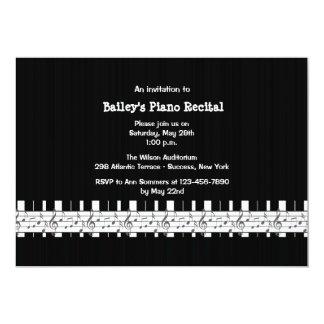 Invitación musical inclinada del decreto del piano invitación 12,7 x 17,8 cm