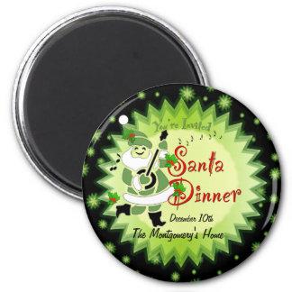 Invitación musical Magn de la cena de navidad del  Imán Redondo 5 Cm