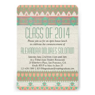 Invitación nativa tribal azteca de la graduación d
