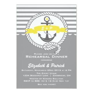 Invitación náutica amarilla y gris de la cena del