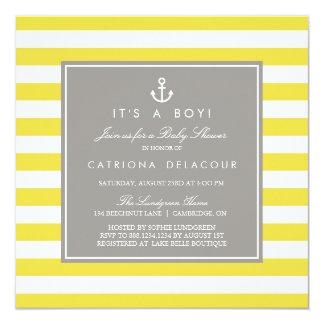 Invitación náutica amarilla y gris de la fiesta de
