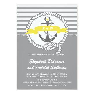 Invitación náutica amarilla y gris del boda de