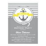 Invitación náutica amarilla y gris del cumpleaños