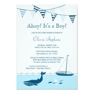 Invitación náutica azul de la ducha del bebé del