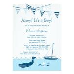 Invitación náutica azul de la ducha del bebé del v