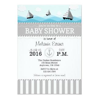 Invitación náutica azul gris gris de la fiesta de