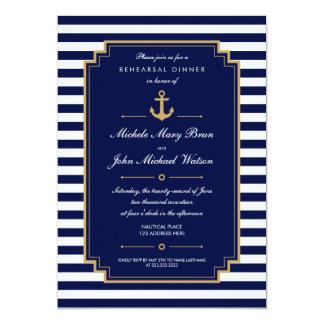 Invitación náutica azul marino de la cena del