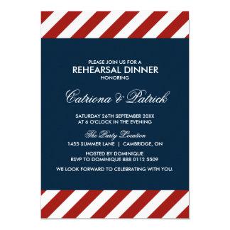 Invitación náutica azul y roja de la cena del
