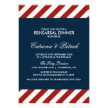 Invitación náutica azul y roja de la cena del ensa