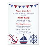 Invitación náutica azul y roja de la fiesta de