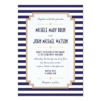 Invitación náutica blanca azul elegante del boda
