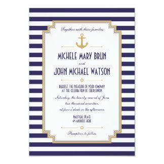 Invitación náutica de encargo elegante del boda