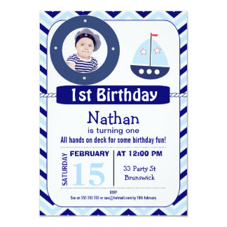 Invitación náutica de la fiesta de cumpleaños de invitación 11,4 x 15,8 cm