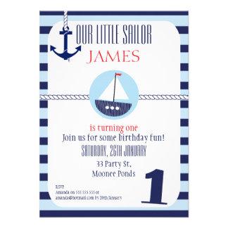 Invitación náutica de la fiesta de cumpleaños de l