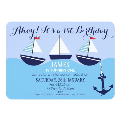 Invitación náutica de la fiesta del cumpleaños del