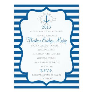 Invitación náutica de la graduación del tema