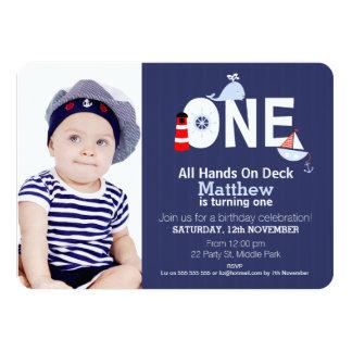 Invitación náutica del 1r cumpleaños de los