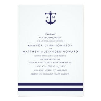 Invitación náutica del boda de la marina de guerra