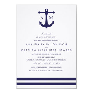 Invitación náutica del boda de la marina de guerra invitación 12,7 x 17,8 cm