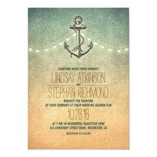 Invitación náutica del boda de las luces rústicas