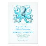 invitación náutica del boda de playa con el pulpo invitación 12,7 x 17,8 cm