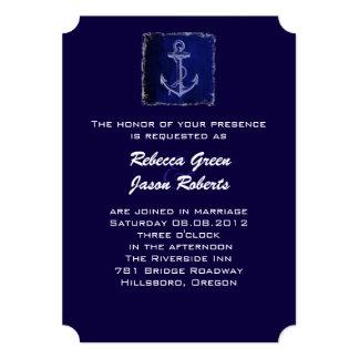 invitación náutica del boda del ancla azul rústica