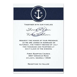 Invitación náutica del boda del ancla de los