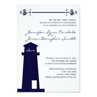 Invitación náutica del boda del ancla del faro de