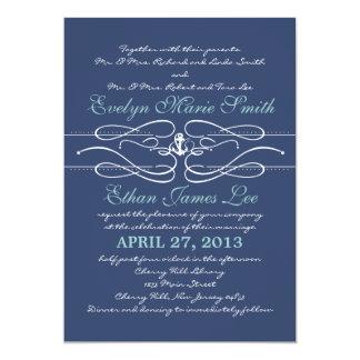 Invitación náutica del boda del remolino en marina