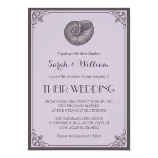 Invitación náutica del boda del Seashell gris