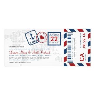 Invitación náutica del boleto del correo aéreo del