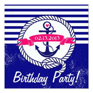 Invitación náutica del cumpleaños de los azules invitación 13,3 cm x 13,3cm