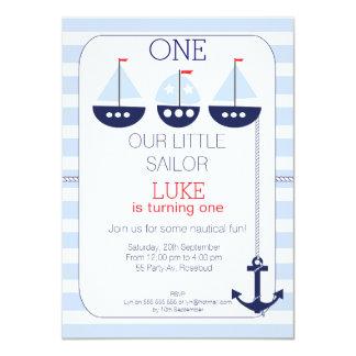 Invitación náutica del cumpleaños de los barcos de invitación 11,4 x 15,8 cm