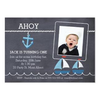 Invitación náutica del cumpleaños de los barcos de