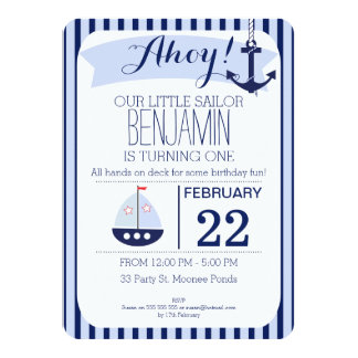 Invitación náutica del cumpleaños de los muchachos invitación 11,4 x 15,8 cm