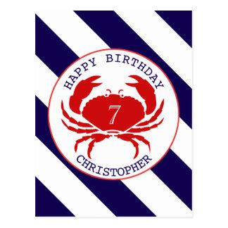 Invitación náutica del cumpleaños del cangrejo postales