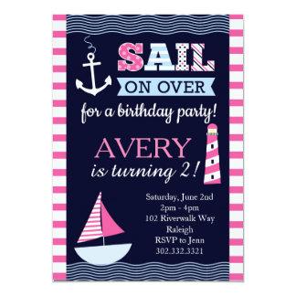 Invitación náutica del cumpleaños del chica