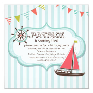 Invitación náutica del cumpleaños del timón y del invitación 13,3 cm x 13,3cm
