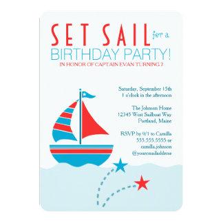 Invitación náutica del cumpleaños del velero azul