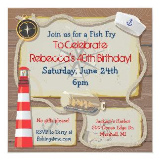 Invitación náutica del fiesta del marinero invitación 13,3 cm x 13,3cm