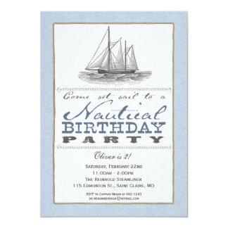 Invitación náutica del fiesta del velero invitación 12,7 x 17,8 cm
