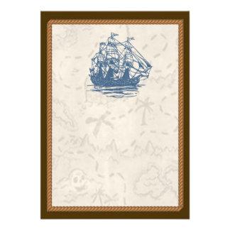 Invitación náutica del mapa del tesoro de la nave