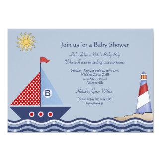 Invitación náutica del muchacho juvenil invitación 12,7 x 17,8 cm