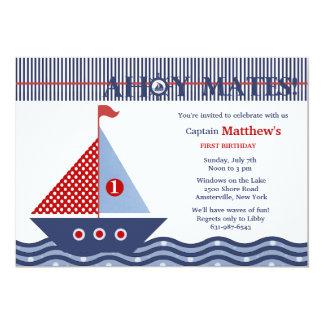 Invitación náutica juvenil de la fiesta de invitación 12,7 x 17,8 cm