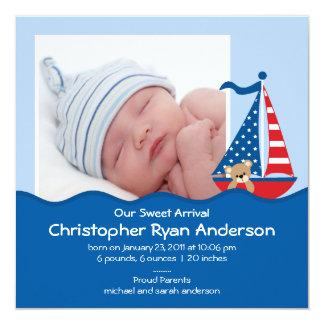 Invitación náutica linda de la foto del bebé del invitación 13,3 cm x 13,3cm